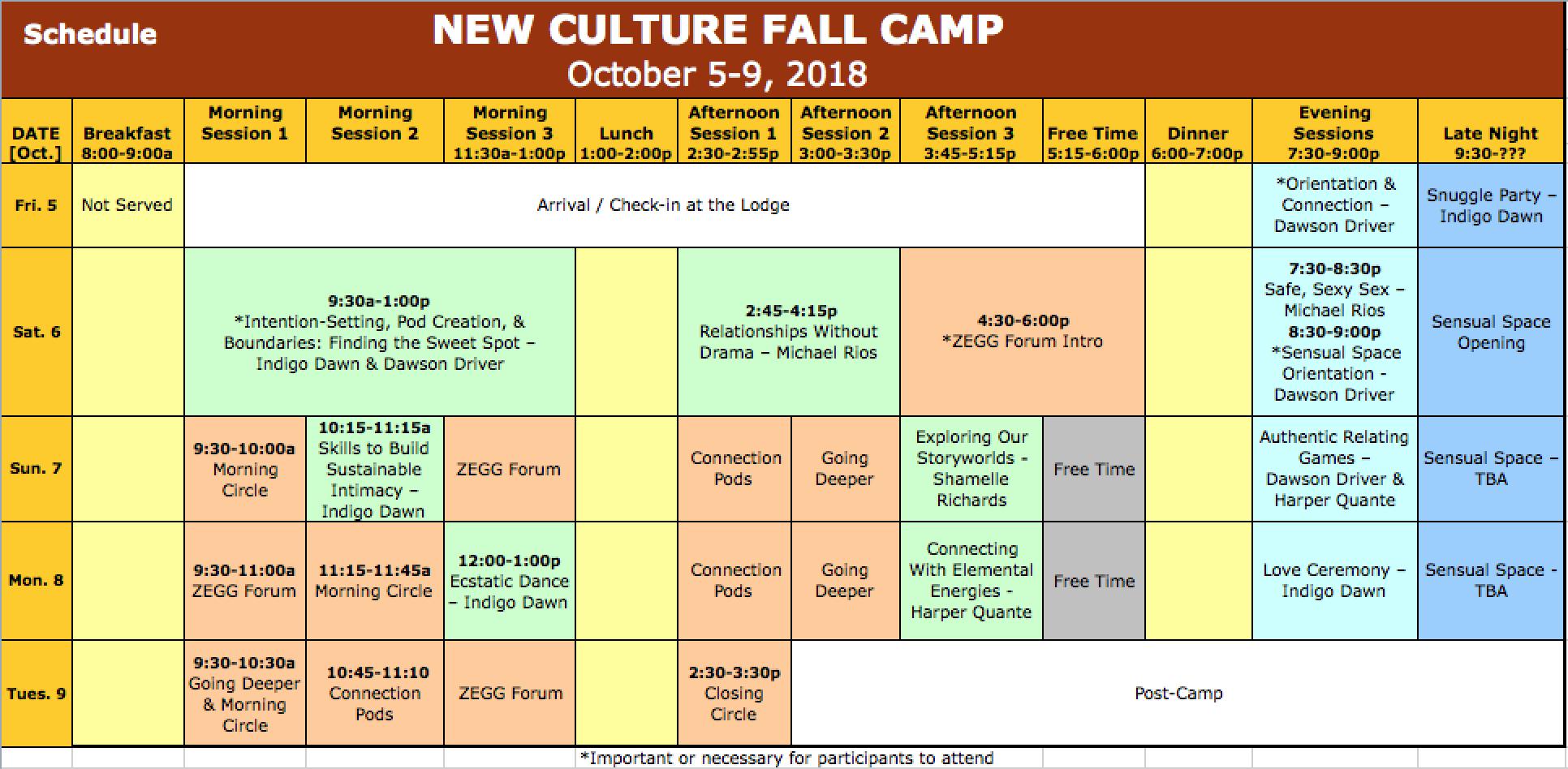 Fall Camp '18 Schedule