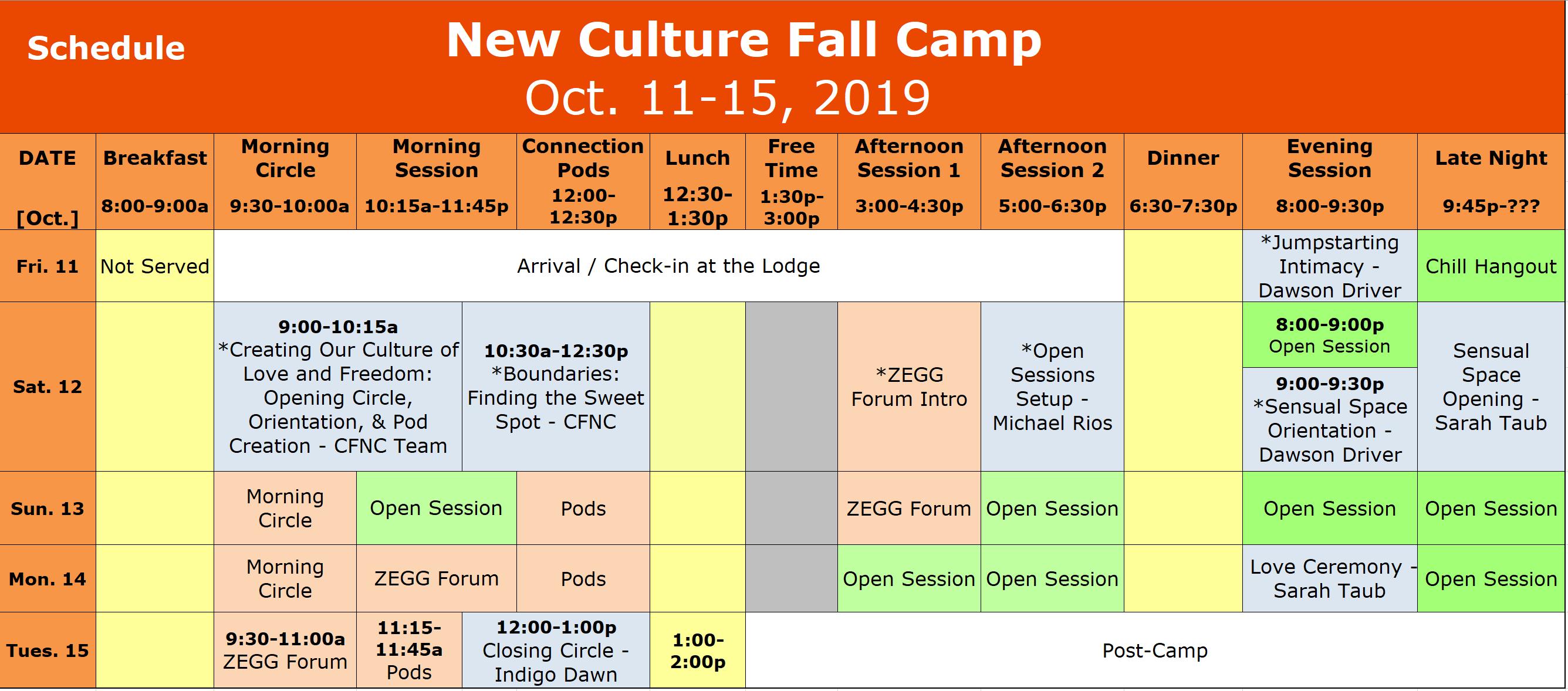 Fall Camp 2019 Schedule