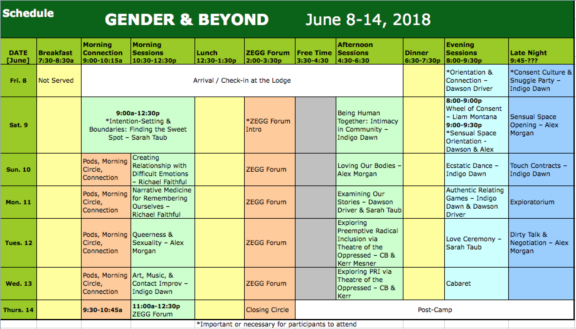 G&B '18 Schedule